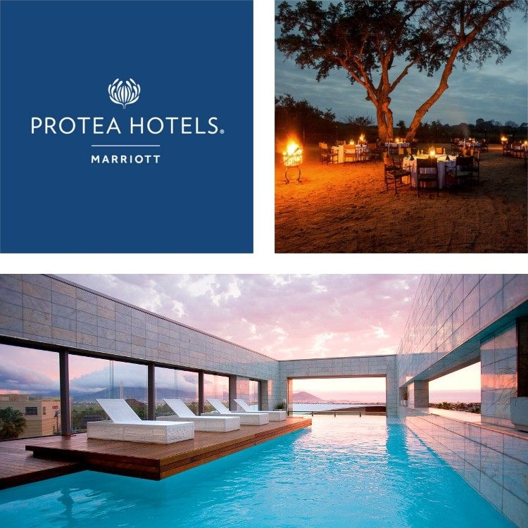 Montage of a contemporary outdoor pool, Protea Hotels logo, outdoor dining tables lit by a fire pit