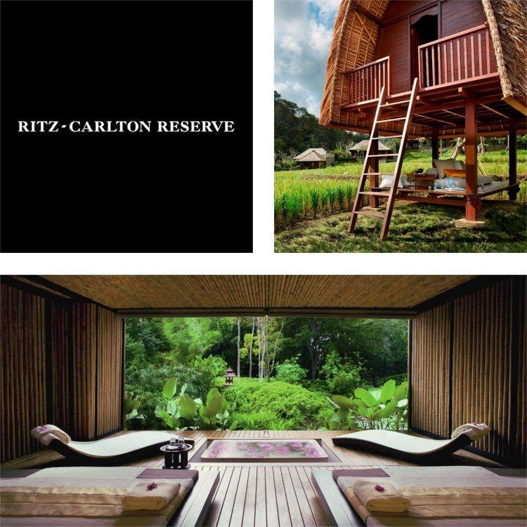 Collage mit einem erhöhten Gästebungalow, bambusverkleidetem Spa und Garten, Logo des Ritz - Carlton Reserve