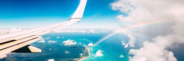 View from an airplane over a large coastline