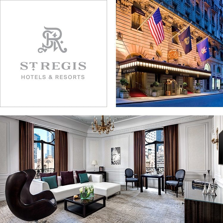Montage of the St. Regis logo, hotel exterior and elegant sitting area with large windows