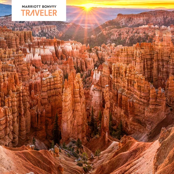 Bryce Canyon National Park at sunset. Marriott Bonvoy Traveler logo.
