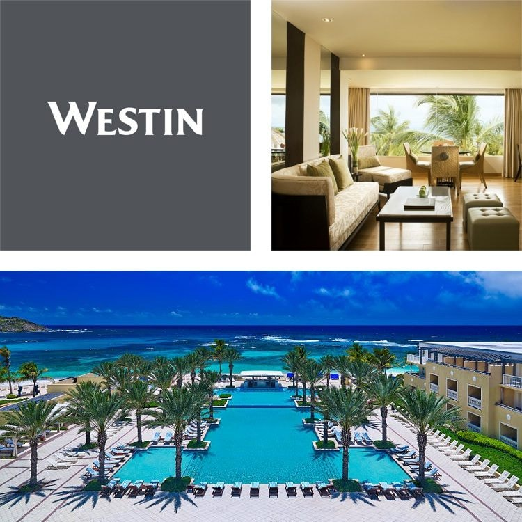 Montage of a hotel pool, palms and ocean view, executive lounge with tropical views, Westin logo