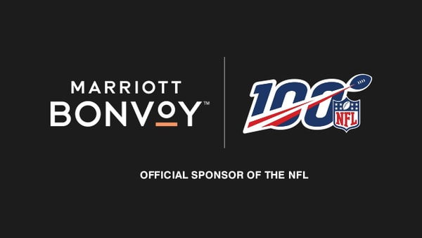 Marriott Bonvoy logo and NFL's 100th Season logo