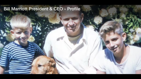 Early photo of J.W. Marriott, Jr. with two young sons and family dog.