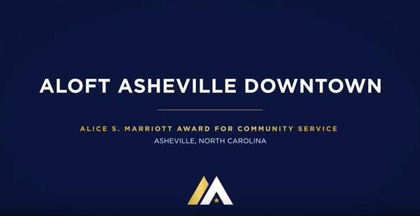 Aloft Asheville Downtown, Alice S. Marriott Award for Community Service, Asheville, North Carolina