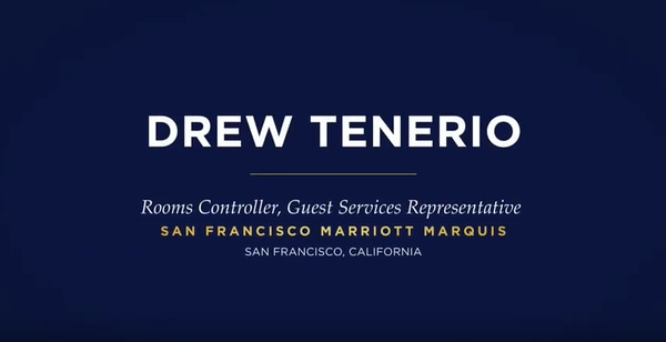 Drew Tenerio, Rooms Controller, Guest Services Representative, San Francisco Marriott Marquis, San Francisco, California