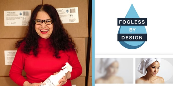Fogless by Design owner Nevin Fahmy with company logo and a fog-free shower door