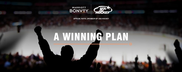 Silhouetted ice hockey fan celebrating with arms aloft, with Marriott Bonvoy text overlay