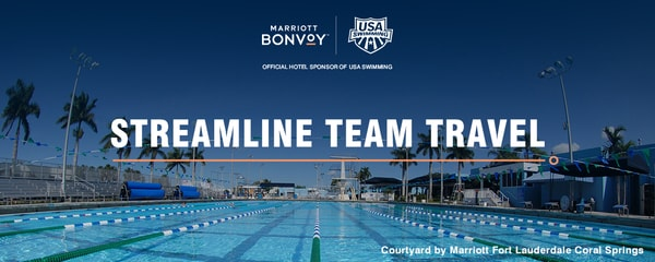Sunny outdoor swimming pool with lanes, with Marriott Bonvoy text overlay.