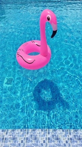 An inflatable pink flamingo floats in a swimming pool.