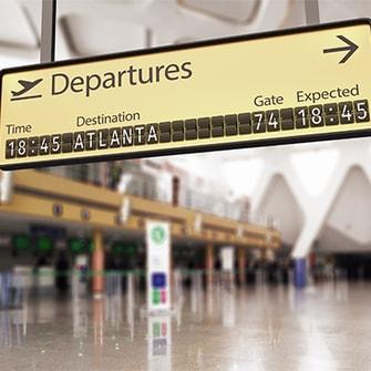 Atlanta airport departures timing.