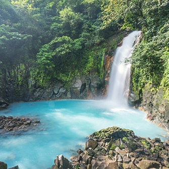 Rio Celeste Waterfall in Costa Rica's Tenorio Volcano National Park.