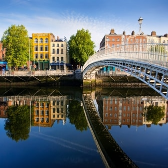 Bridge over the river in Dublin, with colourful buildings lining the banks.