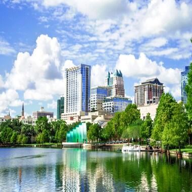 Shoreline of Lake Eola, Orlando, Florida, on a sunny day.