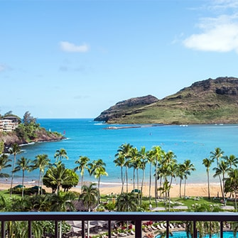 View from Marriott resort in Kauai near adventurous Hawaii activities.