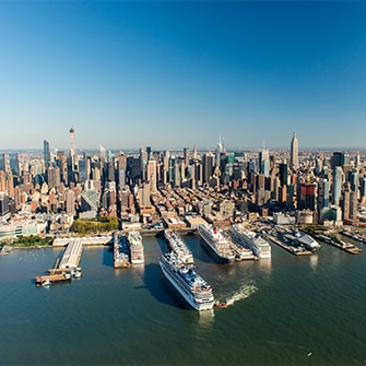 Aerial view of Manhattan, New York, cruise departure ports.
