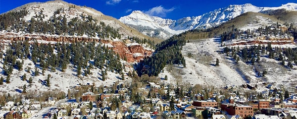 Aerial View of snowcapped mountains in Telluride, Colorado.