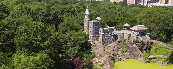 Belvedere Castle over Turtle Pond in Central Park West.