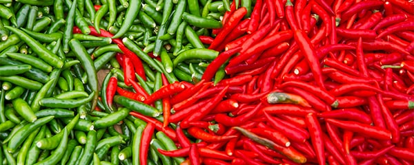 Birds eye view of red and green chiles in Albuquerque.