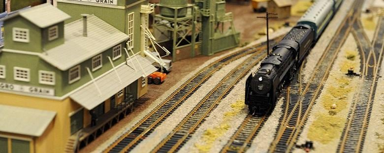 A toy train model on the tracks in Alexandria, Virginia.