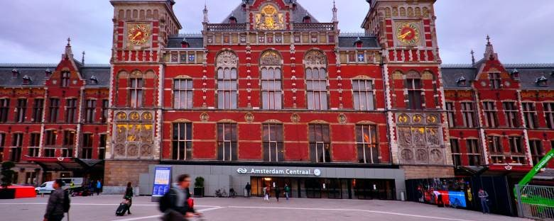 The exterior of Amsterdam's Central Train Station.