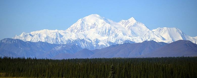 The Denali Mountain in Alaska covered with snow.