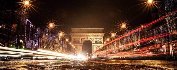 The Arc de Triomphe on the Champs Elysées in Paris, France.