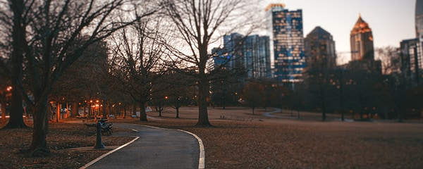 Eye level view of the main Piedmont Park Trail in Atlanta just as the sun set.