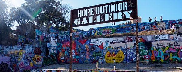 Austin's Hope Outdoor Gallery for art lovers.
