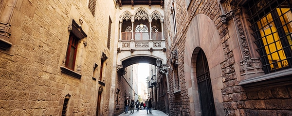 Tilt angle view of the Gothic Quarter in Barcelona, Catalonia, Spain.