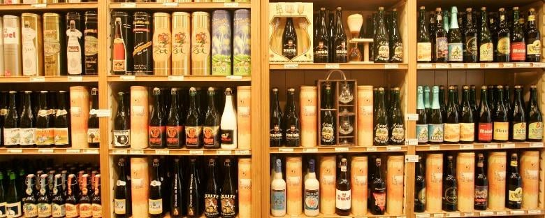 A wall of a variety of Belgian beer in Brussels.