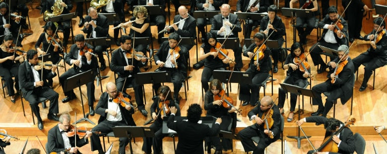 Overhead view of the Bogota Orchestra performing.