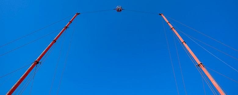 A bungee sling shot in Orlando on a sunny day.