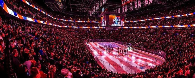 The opening festivities of a NHL hockey game in Calgary, Canada.