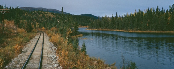 A trail running through Canada near the Yukon River.