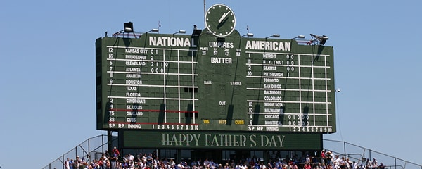 The classic Wrigley Field scoreboard in Chicago surrounded by clear skies.