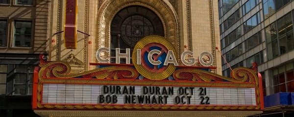 Full view of the Chicago Marquee Theater sign.