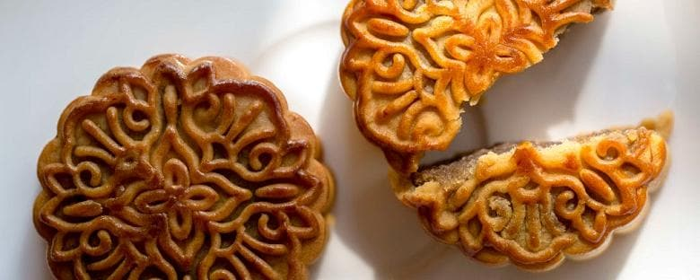 A couple of Chinese mooncakes prepared for a festival.