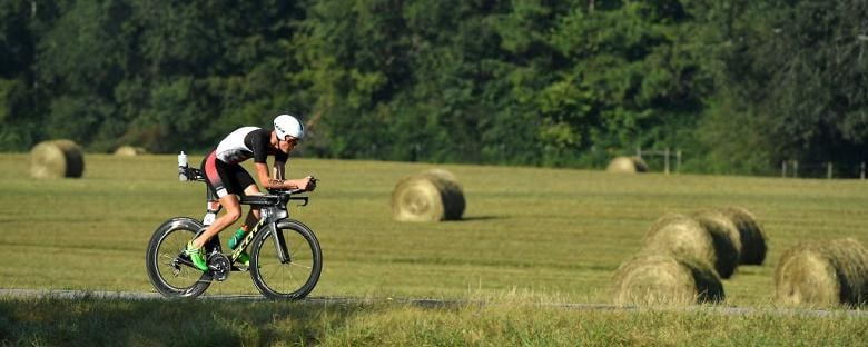 A cyclist pedals outside near Knoxville, Tennessee.