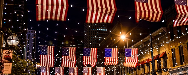 Denver's downtown historic district with hanging American flags.