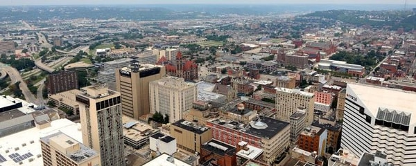 An aerial view of downtown Cincinnati.