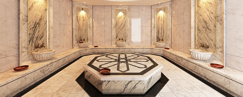 Full view of a bright Turkish Hammam marble bath design.