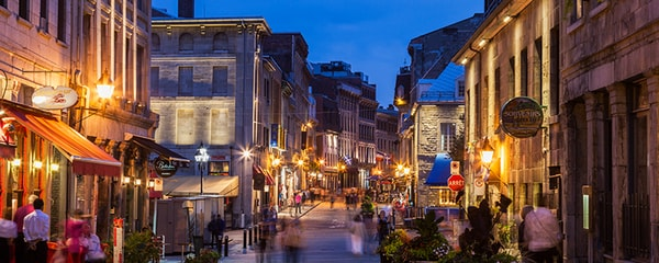 The famous old streets of Montreal at nighttime.
