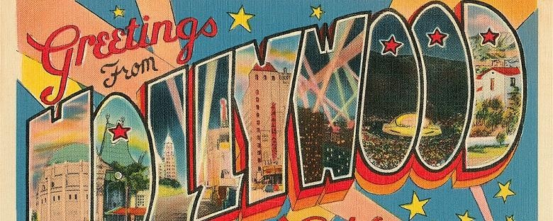 "A painted ""Greetings From Hollywood"" mural in Los Angeles."