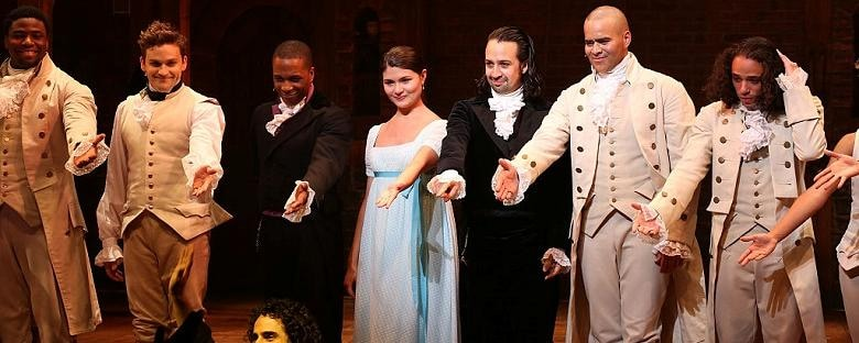 The Hamilton cast on Broadway takes a bow in New York City.