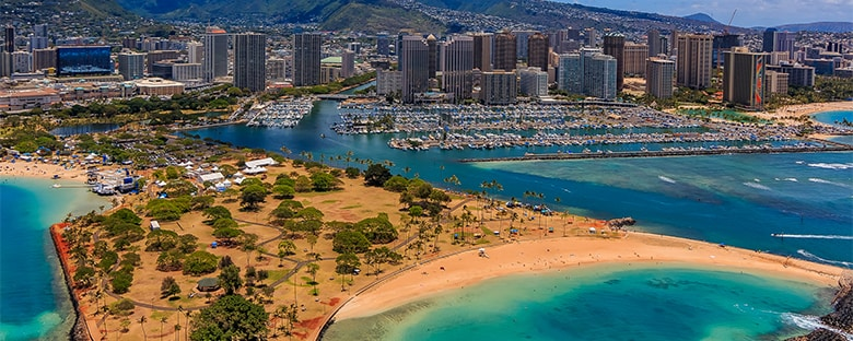 An aerial view of Ala Moana Beach Park in Honolulu, Hawaii.