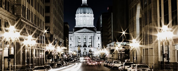 The State House building lit up at night in Indianapolis, Indiana
