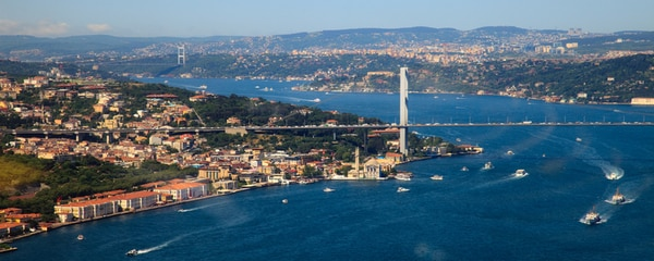 Aerial view of a bridge over Bosphorus in Istanbul, Turkey