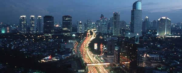 Traffic through the city of Jakarta at night.