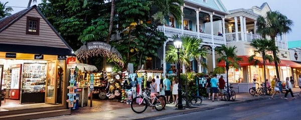 Key West's Duval Street at sunset.